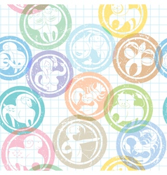 zodiac sign stamps pattern vector image vector image