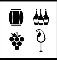 barrel grape bottles and glass of wine icon vector image vector image
