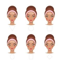 Correct application of blush vector image vector image