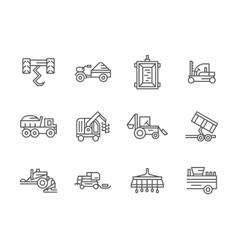 Farm machinery black line icons vector image