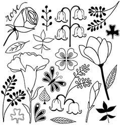 flower sketch doodle set 2 vector image vector image