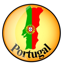orange button with the image maps of Portugal vector image