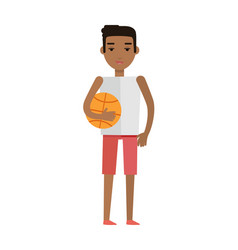 young african black man with ball isolated vector image