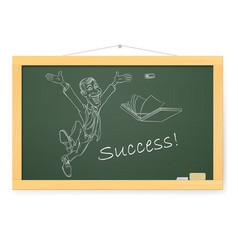 Blackboard with man and success on white vector
