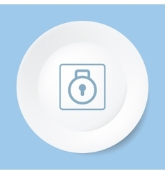 Empty white plate with lock vector image