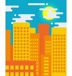 Flat style cityscape on a sunny day big city life vector image