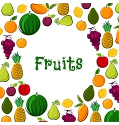Fruit poster of exotic farm fresh fruits vector image vector image