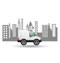 mini truck citi background design vector image vector image