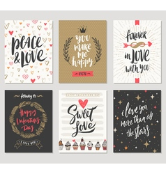 Set of Valentines Day hand drawn greetings vector image vector image
