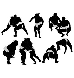 sumo wrestlers vs vector image