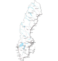 Sweden Black White Map vector image vector image
