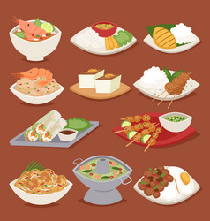 Traditional thai food asian plate cuisine thailand vector