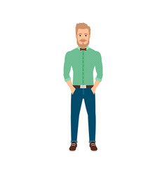 young hipster man in casual clothes vector image vector image