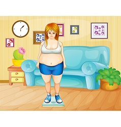 A fat girl weighing her weight inside the house vector image