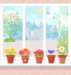 cute flowers planted in ceramic pots on a vector image vector image