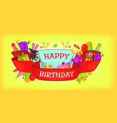 happy birthday horizontal banner cartoon style vector image vector image