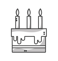 Line tasty cake with candle to party celebration vector