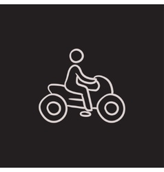 Man riding motorcycle sketch icon vector image