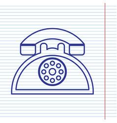 Retro telephone sign navy line icon on vector