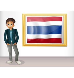 A boy with a framed flag of Thailand vector
