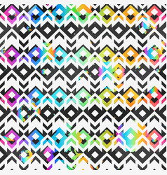 abstract geometric pattern with rainbow grunge vector image