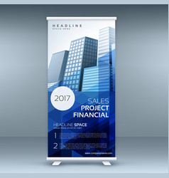 abstract roll up banner with promotional design vector image