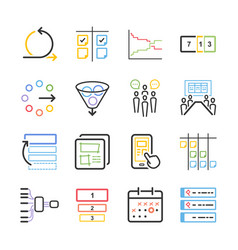 agile icon set vector image
