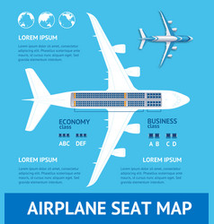 Airplane plan seat map card vector