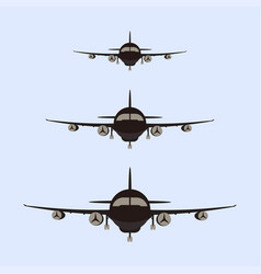 Airplanes silhouette front vector