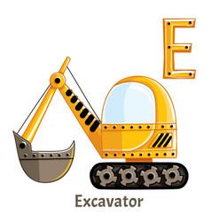 Alphabet letter e excavator vector