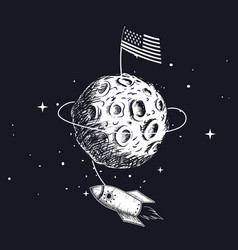 American flag on on the moon vector