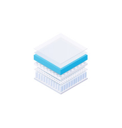 Bed mattress inside layers - square cut of vector