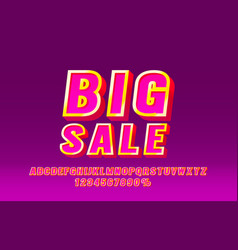 big sale font set collection letters and numbers vector image