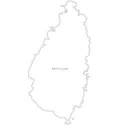 Black White Saint Lucia Outline Map Royalty Free Vector