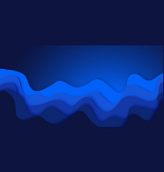 blue abstract paper cut effect horizontal banner vector image