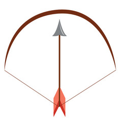 brown bow and arrow on white background vector image