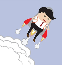Businessman flying with rocket Successful Career vector