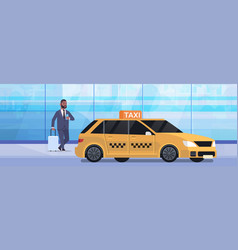 Businessman using mobile app ordering taxi on vector
