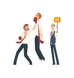 businessmen boxing business people competing vector image