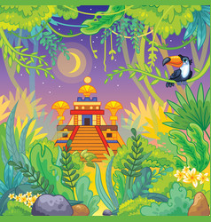 Cartoon lost temple landscape stock vector