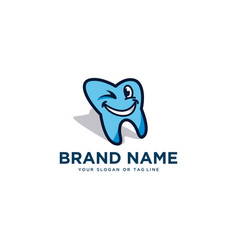 Cartoon teeth design smiley logo template vector