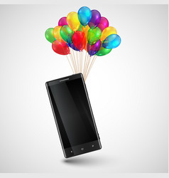 Cellphone as a gift with colorful balloons vector