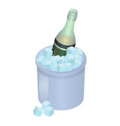 champagne in ice box icon isometric style vector image