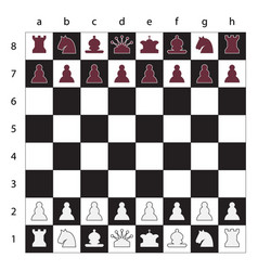 chess board with figures black and white vector image