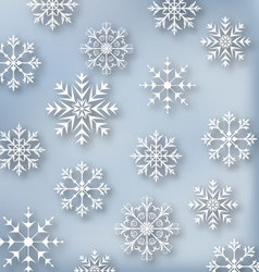 Christmas blue wallpaper with set snowflakes vector