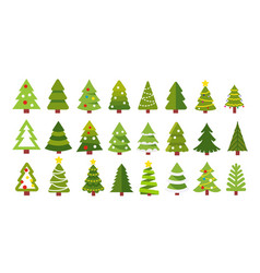 christmas trees on white background vector image
