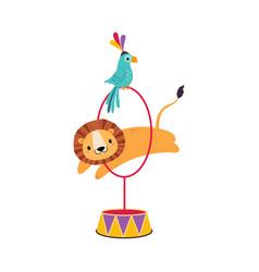 Circus lion animal jumping through hula hoop with vector