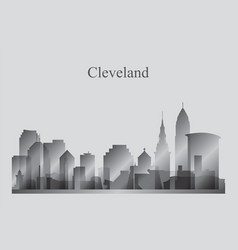 Cleveland city skyline silhouette in grayscale vector