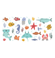 collection cute smiling marine animals vector image