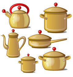 Collection of kettle pan cups and a jug vector